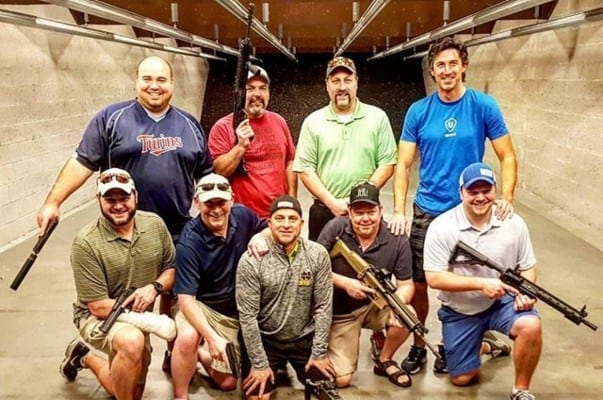 bachelor party at the gun range after booking their reservation